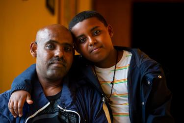 Shalemu Bekele and his son, Beimnet, photographed at their church, DSM Ethiopian Orthodox Tewahedo Church, in Houston, TX, on Wednesday, April 14, 2021. Bekele's wife and daughter died of carbon monoxide poisoning during a tragic freeze in February.